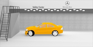Rendering  Crashhalle  Mercedes Benz